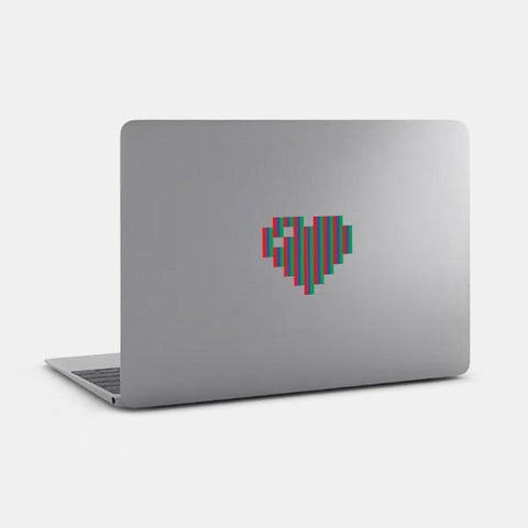 "opaque ""pixel heart"" reusable macbook sticker on a mac by tabtag"