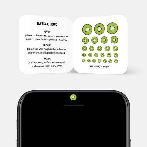 """kiwi"" reusable privacy sticker set on phone by tabtag"
