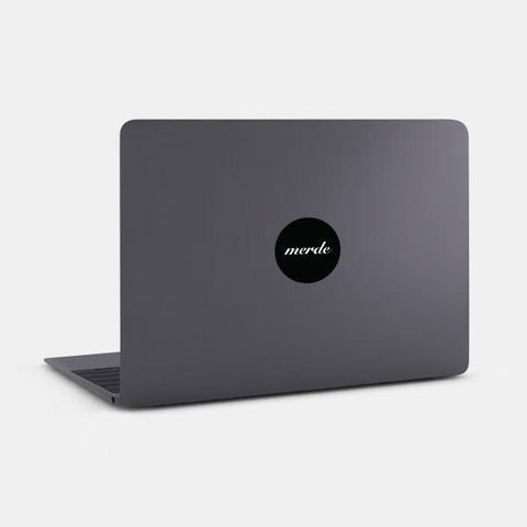 "opaque ""merde"" reusable macbook sticker on a mac by tabtag"