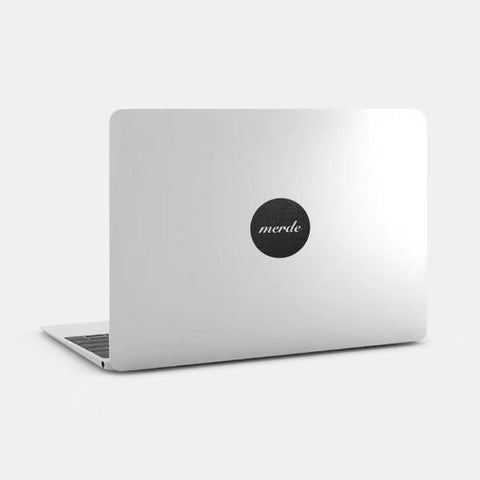 "silver ""merde"" reusable macbook sticker on a mac by tabtag"