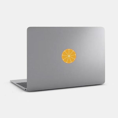 "opaque ""orange"" reusable macbook sticker on a mac by tabtag"
