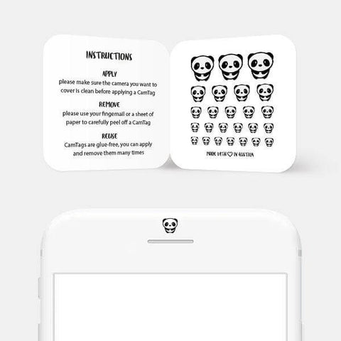 """panda"" reusable privacy sticker set on phone by tabtag"
