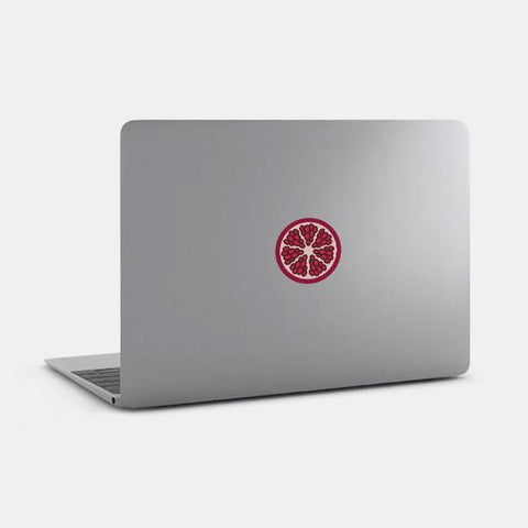 "opaque ""pomegranate"" reusable macbook sticker on a mac by tabtag"