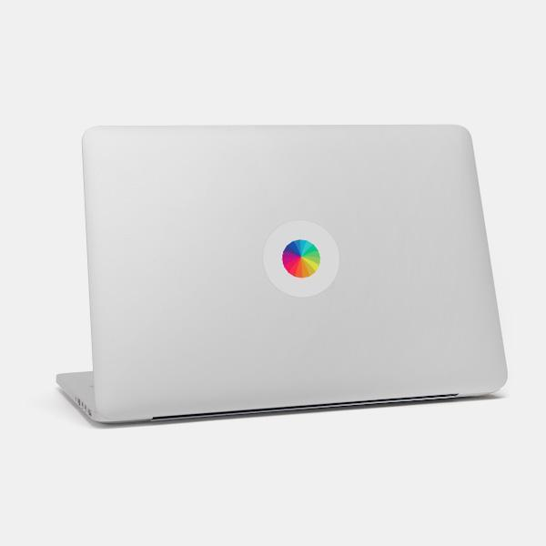 """rainbow umbrella"" macbook sticker glowing on a mac by tabtag"