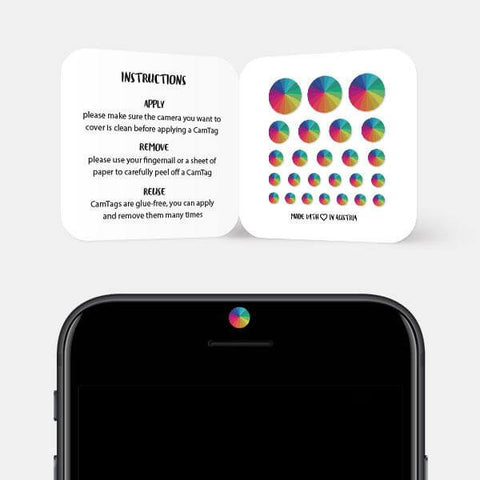 """rainbow umbrella"" reusable privacy sticker set on phone by tabtag"