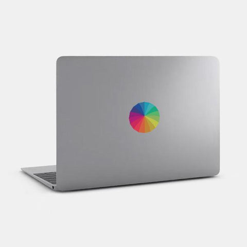 "opaque ""rainbow umbrella"" reusable macbook sticker on a mac by tabtag"
