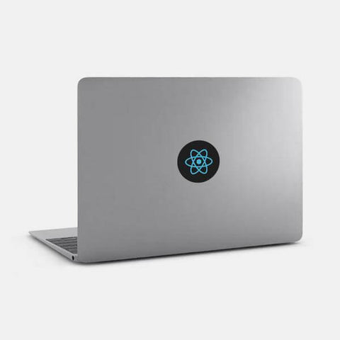 "opaque ""react"" reusable macbook sticker on a mac by tabtag"