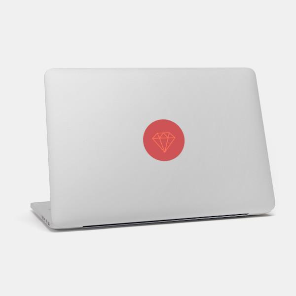 """ruby"" macbook sticker glowing on a mac by tabtag"