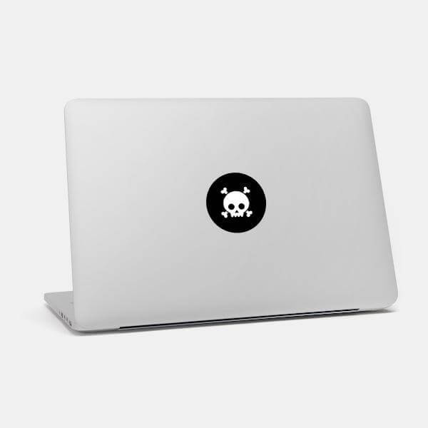 """skull"" macbook sticker glowing on a mac by tabtag"