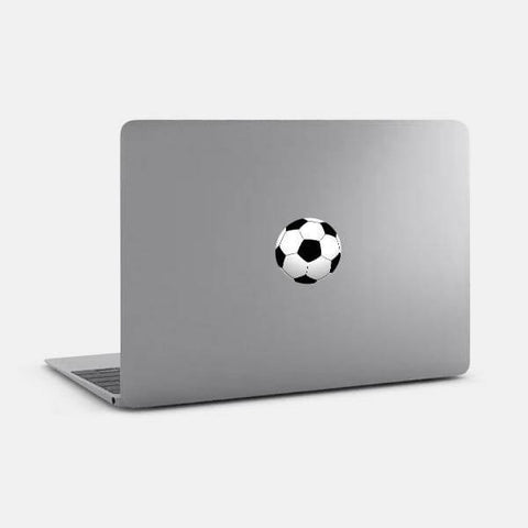 """soccer ball"" reusable opaque macbook sticker on a mac by tabtag"