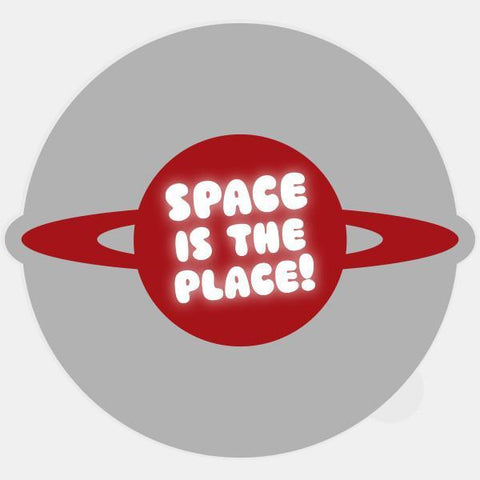 "glowing ""space is the place"" macbook sticker by tabtag"