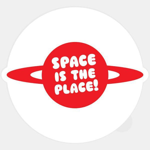 """space is the place"" glowing macbook sticker by tabtag"