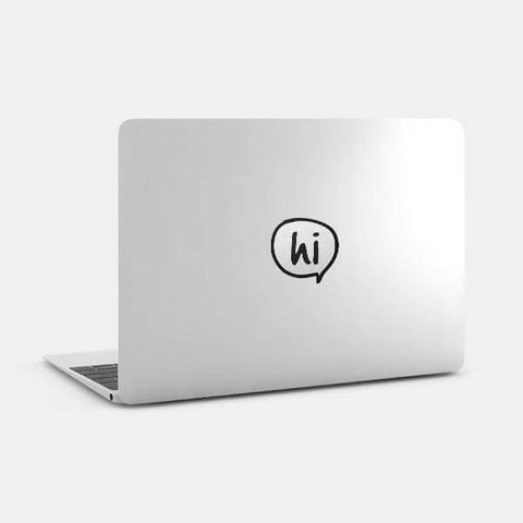 "silver ""speech bubble hi"" reusable macbook sticker on a mac by tabtag"
