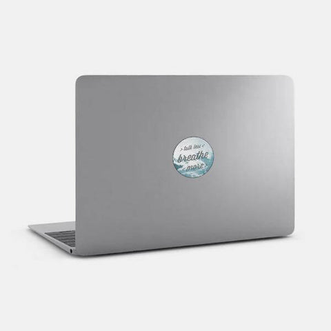 "opaque ""talk less / breathe more"" reusable macbook sticker on a mac by tabtag"