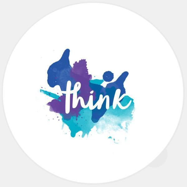 """think"" glowing macbook sticker by tabtag"