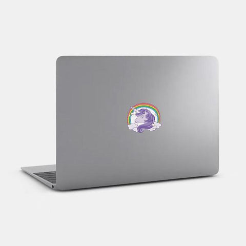 """unicorn"" die cut reusable opaque macbook sticker on a mac by tabtag"
