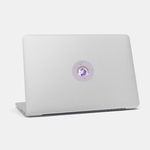 """unicorn"" macbook sticker glowing on a mac by tabtag"