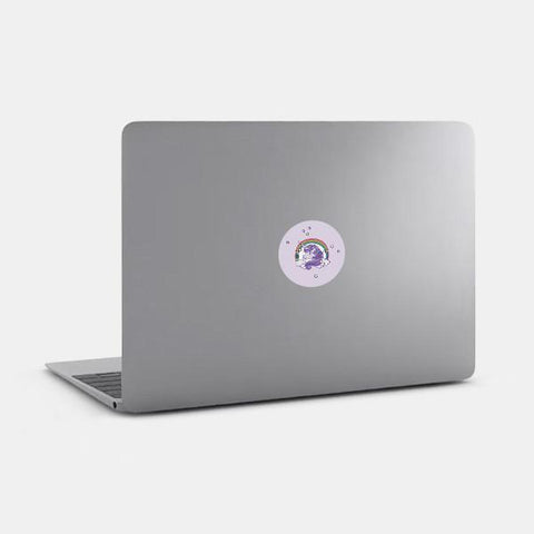 """unicorn"" reusable opaque macbook sticker on a mac by tabtag"