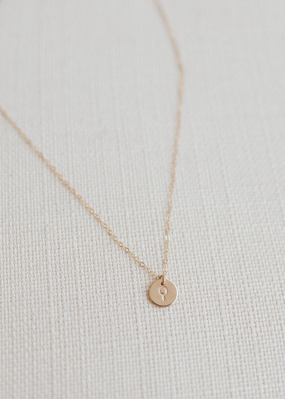 Woman Disc Necklace - 3/8