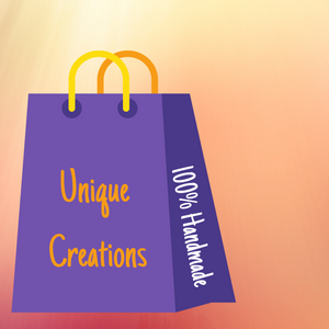 "Picture of a shopping bag with the text ""Unique Creations"" and ""100% Handmade"""
