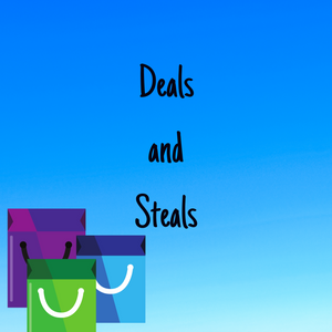 "Picture of three shopping bags with the text ""Deals and Steals"""
