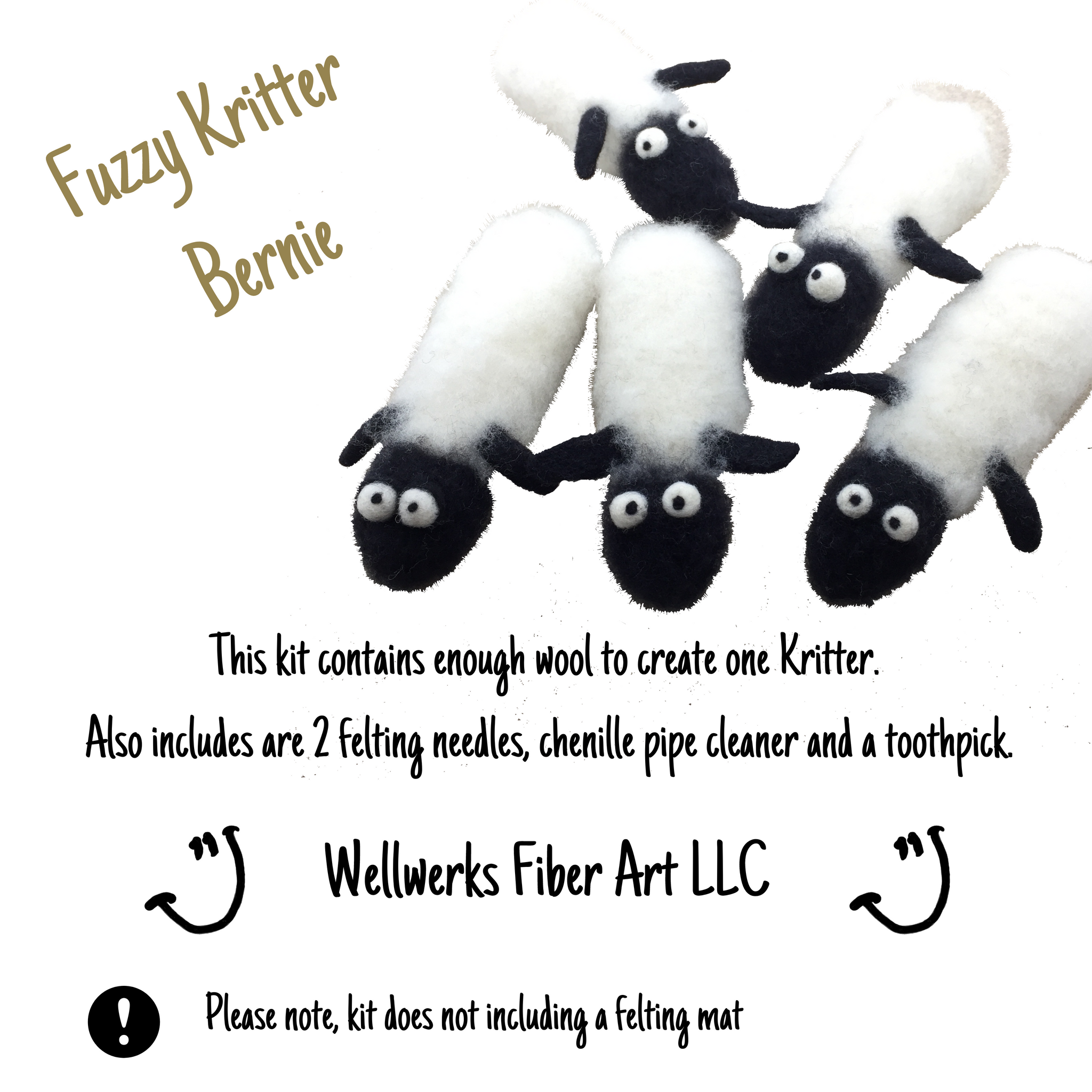 Cover photo of Fuzzy Kritter Bernie Kit. Picture of 5 fuzzy Kritter, list of supplies included.