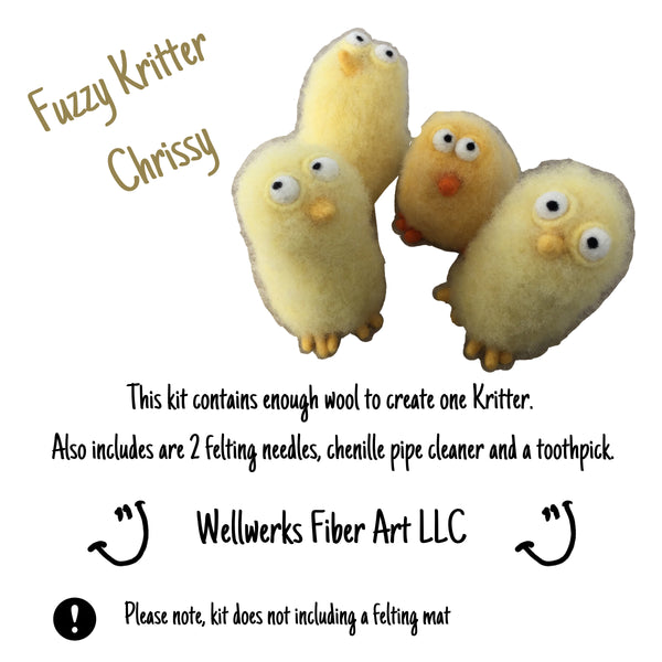 Cover photo of Fuzzy Kritter Chrissy Kit. Picture of 4 fuzzy Kritter, list of supplies included.