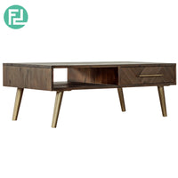 SELSEY SOLID ACACIA WOOD 4FT COFFEE TABLE WITH DRAWER