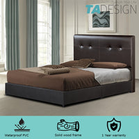 GIOVANNI WATERPROOF PVC DIVAN KING BED FRAME – DARK BROWN