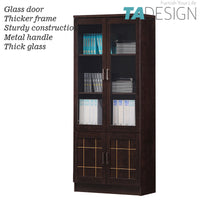 CASEY 2 DOOR BOOK CABINET WITH GLASS DOOR – WENGE