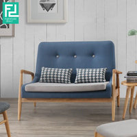 HELSINGOR Solid Wood 2 Seater Sofa with 2 Pillows