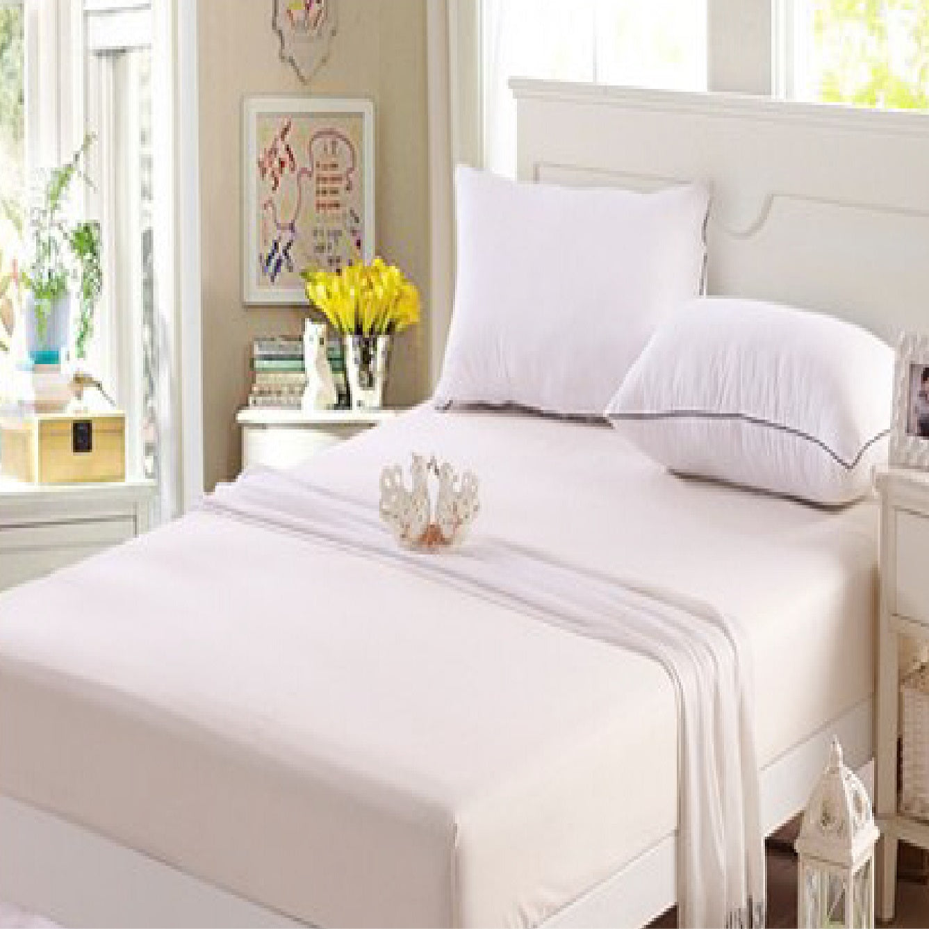 Aussino Plain Dye Fitted Sheet Set