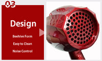 Elegant Professional Hair Dryer 2000W Strong Wind (Red/Black)