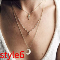 17KM Multilayer Crystal Moon Necklaces & Pendants For Women Vintage Charm Gold Choker Necklace 2020 Bohemian Jewelry Wholesale