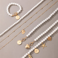 Tocona Luxury Pearl Stone Shell Pendant Necklace for Women Summer Star Heart Chain Choker Necklace Bohemian Jewelry Gift