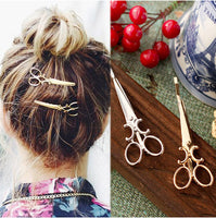 1pcs new simple hair accessories gold silver hairpin jewelry retro text clips headdress