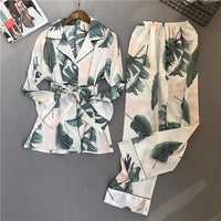 Spring Printing Pattern Women Pajama Set Rayon Sleepwear Long Sleeve Trousers Two Suit