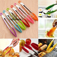 NEW Silicone Kitchen Cooking Salad Serving BBQ Tongs Stainless Steel Handle Utensil Y110-Dropshipping