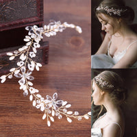 KMVEXO Fashion Leaves Silver bridal hair accessories Hair Jewelry Wedding Accessories Headband Women Headpiece