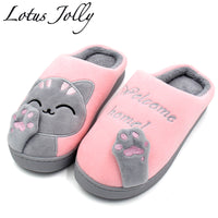 Women Home Slippers Cartoon Cat Shoes Non-slip Soft Warm House Slippers Indoor Bedroom Lovers Couples Floor Shoes