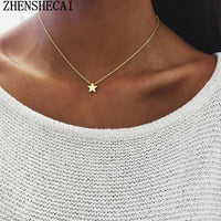 Tiny Heart Necklace for Women SHORT Chain Heart star Pendant Necklace Gift Ethnic Bohemian Choker Necklace A64