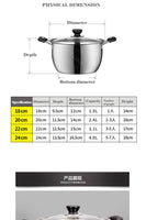 1pcs Stainless Steel pot 1.5L-4L Double Bottom Soup Pot Nonmagnetic Cooking Multi-purpose Cookware Non-stick Pan general use