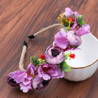 Haimeikang Colorful Flower Headband Fabric Princess Headdresses Girls Bride Headband Women Beach Wedding Hair Accessories