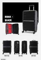Case Valker Signature HANA Unbreakable Polypropylene 2 In 1 TSA PP Luggage Bag in Black (20 + 24 )