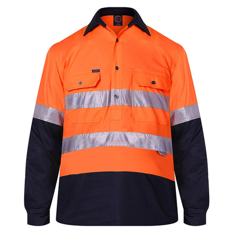 Ritemate Hi Vis Taped Closed Front Shirt L/s RM105CFR