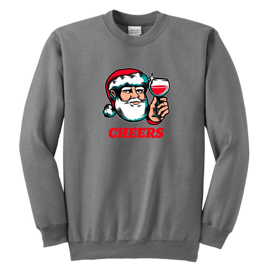 Cheers Santa Christmas Tops - Youth Crewneck Sweatshirt / Sport Grey / XS - Youth Crewneck Sweatshirt / Sport Grey / S - Youth Crewneck Sweatshirt / Sport Grey / M - Youth Crewneck Sweatshirt / Sport Grey / L - Youth Crewneck Sweatshirt / Sport Grey / XL