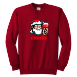 Cheers Santa Christmas Tops - Youth Crewneck Sweatshirt / Red / XS - Youth Crewneck Sweatshirt / Red / S - Youth Crewneck Sweatshirt / Red / M - Youth Crewneck Sweatshirt / Red / L - Youth Crewneck Sweatshirt / Red / XL