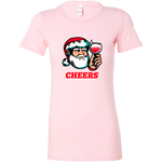 Cheers Santa Christmas Tops - Bella Womens Shirt / Pink / S - Bella Womens Shirt / Pink / M - Bella Womens Shirt / Pink / L - Bella Womens Shirt / Pink / XL - Bella Womens Shirt / Pink / 2XL