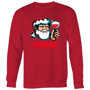 Cheers Santa Christmas Tops - Crewneck Sweatshirt Big Print / Red / S - Crewneck Sweatshirt Big Print / Red / M - Crewneck Sweatshirt Big Print / Red / L - Crewneck Sweatshirt Big Print / Red / XL - Crewneck Sweatshirt Big Print / Red / 2XL