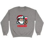 Cheers Santa Christmas Tops - Crewneck Sweatshirt / Sport Grey / S - Crewneck Sweatshirt / Sport Grey / M - Crewneck Sweatshirt / Sport Grey / L - Crewneck Sweatshirt / Sport Grey / XL - Crewneck Sweatshirt / Sport Grey / 2XL - Crewneck Sweatshirt / Sport Grey / 3XL - Crewneck Sweatshirt / Sport Grey / 4XL - Crewneck Sweatshirt / Sport Grey / 5XL